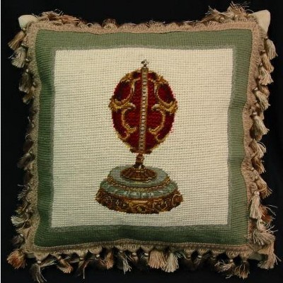 """C&F Home 17"""" x 17"""" Red Faberge Egg Easter Needlepoint/Petit Point Pillow"""