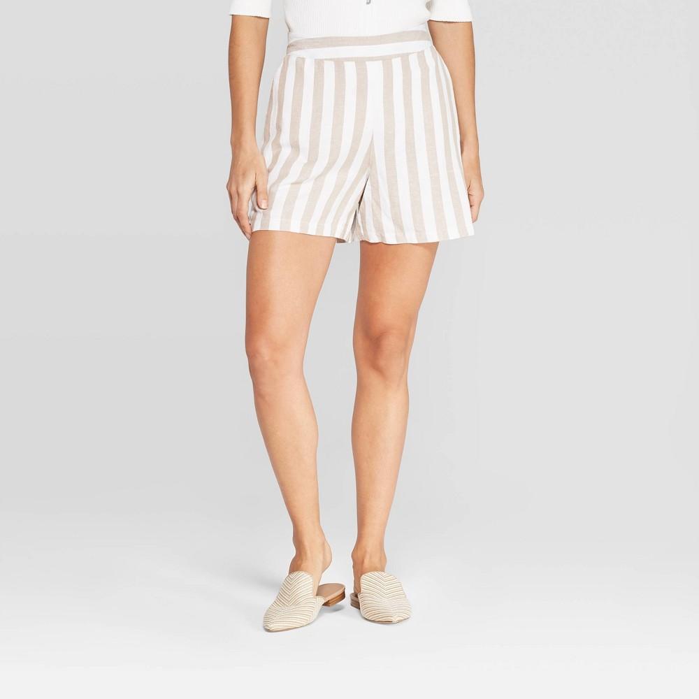 Women's Striped High-Rise Linen Shorts - A New Day Cream M, Beige