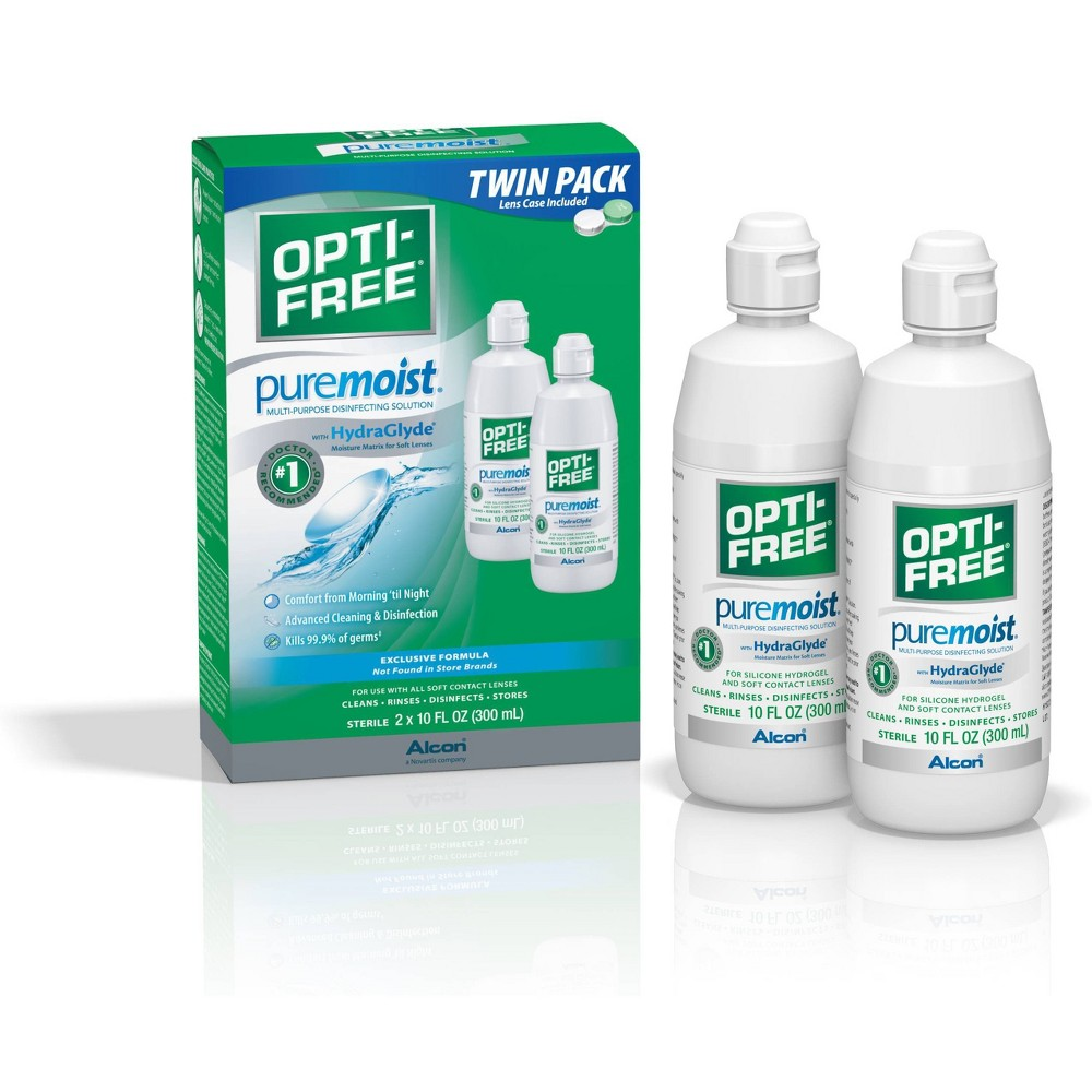 OPTI-FREE PureMoist Multi-Purpose Disinfecting Solution - Twin Pack (10 fl oz each) Be kind to your eyes with Opti-Free Contact Solution from PureMoist. A disinfecting contact solution that's gentle enough for sensitive eyes, it creates a barrier across the lens dispelling dirt and grit throughout the day. Suitable for all types of contact lenses including silicone hydrogels, this solution helps reduce microorganisms that can lead to infections. Size: 20.0 fl oz. Age Group: adult.