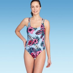 Women's Adjustable Over The Shoulder Medium Coverage One Piece Swimsuit - Kona Sol™ Blue Floral