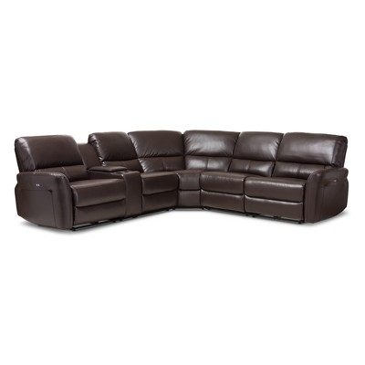 5pc Amaris Modern and Contemporary Bonded Leather Power Reclining Sectional Sofa with USB Ports Dark Brown - Baxton Studio