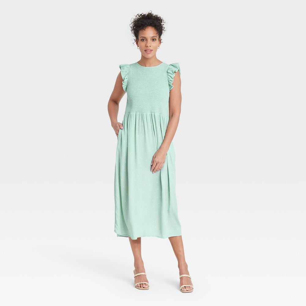 Women 39 S Polka Dot Sleeveless Smocked Dress A New Day 8482 Green M