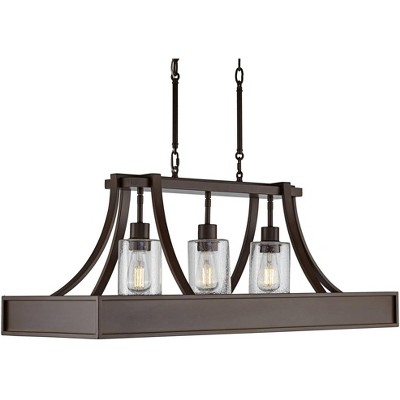"""Franklin Iron Works Bronze Wood Linear Island Pendant Chandelier 36"""" Wide Industrial Seeded Glass 3-Light Fixture for Kitchen"""