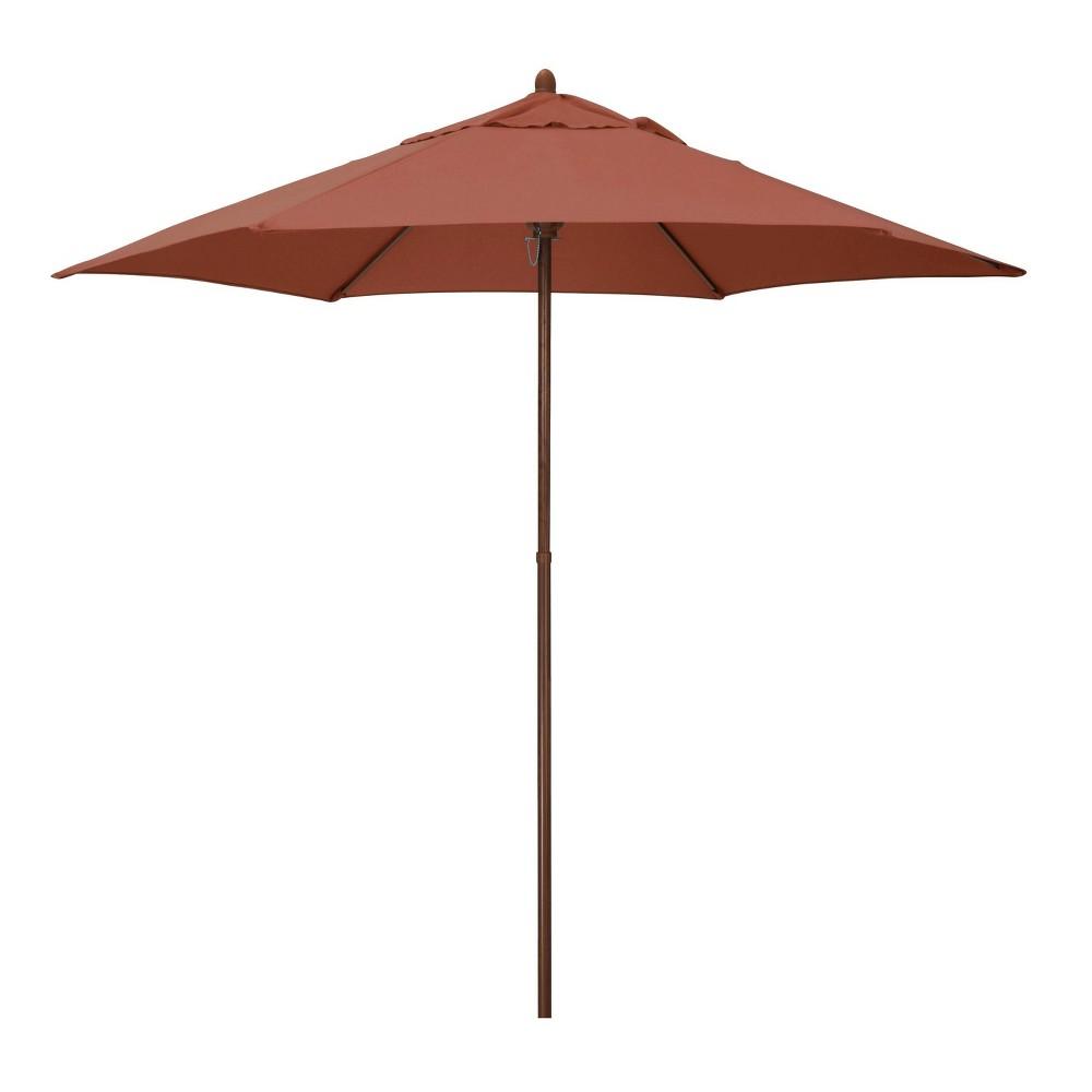 9 39 X 9 39 Round Wood Grain Steel Patio Umbrella Brick Astella
