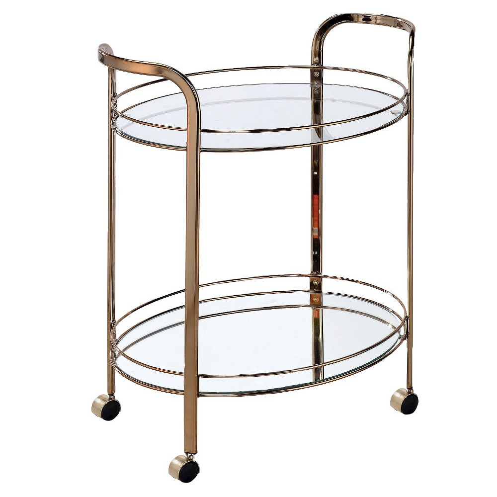ioHomes Derria Oval Mirrored Serving Cart - Champagne, Soft Gold
