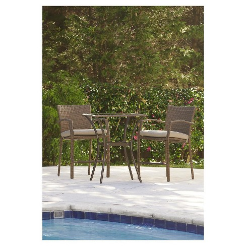 Lakewood Ranch 3 Piece Steel Woven Wicker Outdoor High Top Bistro Patio Furniture Set With Cushions Brown Cosco Target