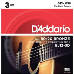 D'Addario EJ12-3D 80/20 Bronze Medium Acoustic Guitar Strings 3-Pack