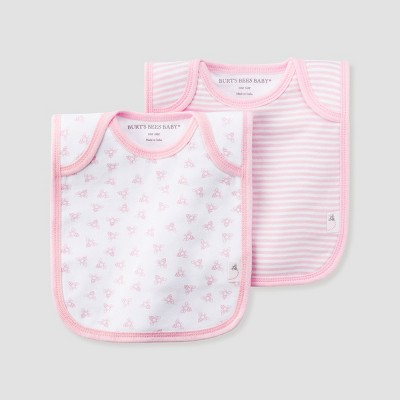 Burt's Bees Baby® Girls' Organic Cotton 2pk Lap Shoulder Bib Set - Blossom