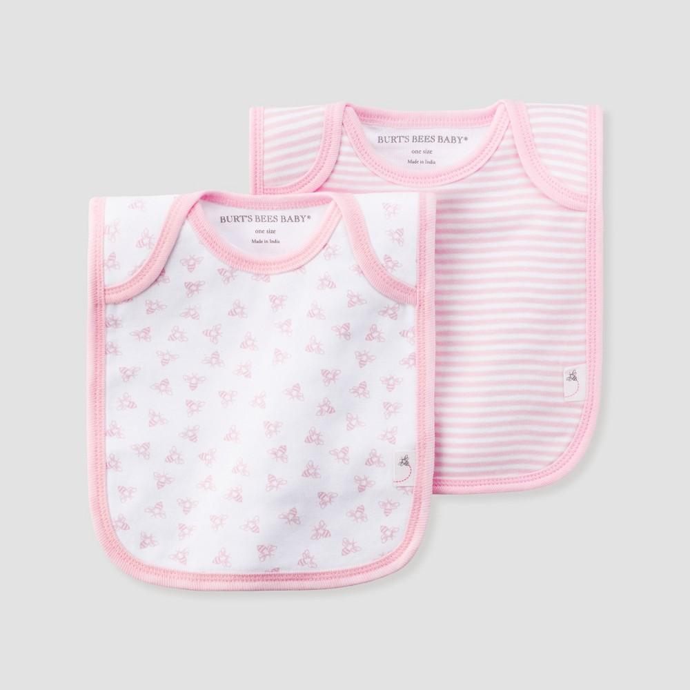 Burt's Bees Baby Girls' Organic Cotton 2pk Lap Shoulder Bib Set - Blossom