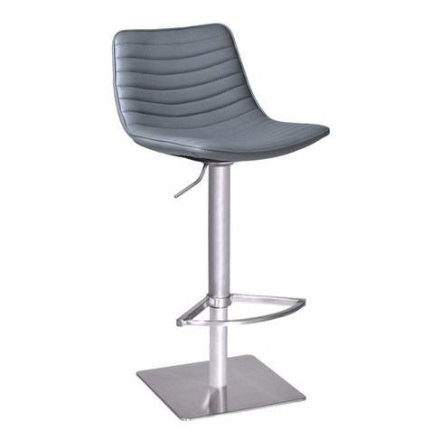 Luna Swivel Barstool in Brushed Stainless Steel with Grey Faux Leather - Armen Living - image 1 of 4