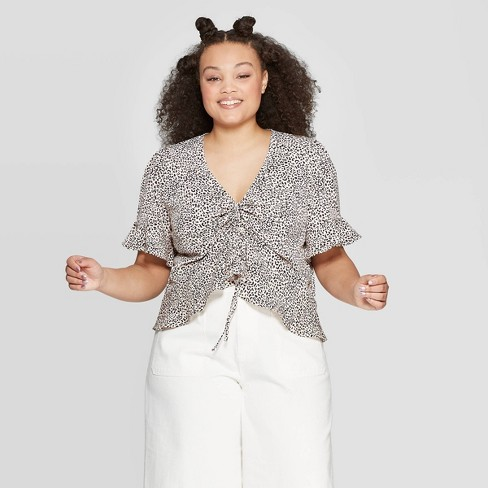 b221f8353d27 Women's Plus Size Leopard Print Short Sleeve V-Neck Tunnel Front Shirt -  Who What Wear™ Peach : Target