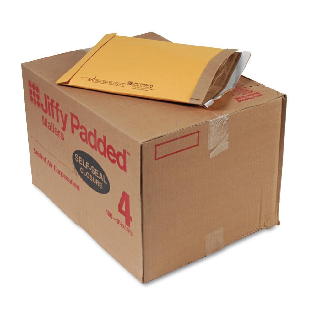 Image of Sealed Air Jiffy Padded Self Seal Mailer, #4, 9 1/2 x 14 1/2, Natural Kraft, 100/Carton (67320), Brown
