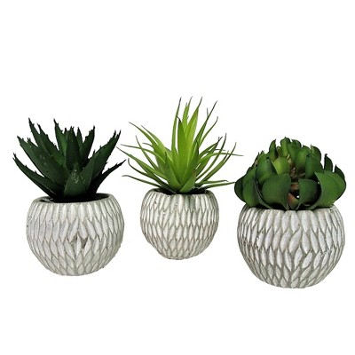 "6"" x 12"" Set of 3 Artificial Succulent Plants in Concrete Pot - LCG Florals"