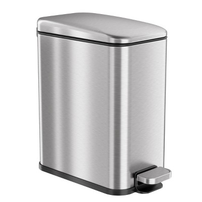 iTouchless SoftStep Step Pedal Bathroom Trash Can with AbsorbX Odor Filter 1.32 Gallon Silver Stainless Steel