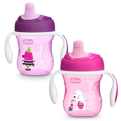 Chicco First Spout Trainer Portable Drinkware Sippy Cup - Pink - 2pk/7oz Each