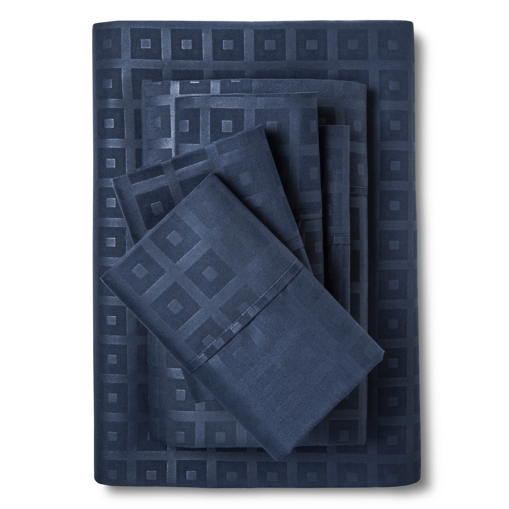 Christopher Knight Home Natalia Cavalletto Box Design Sheet Set - Navy Blue (King)