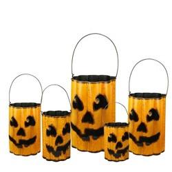 "Northlight 18"" Weathered Nesting Jack 'O Lantern Pumpkin Containers 5ct - Orange/Black"