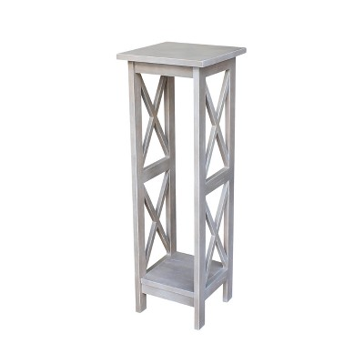 Solid Wood 36   X Sided Plant Stand Washed Gray Taupe - International Concepts