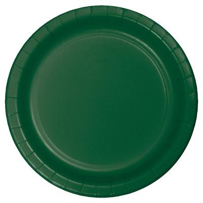 "Hunter Green 7"" Dessert Plates - 24ct"