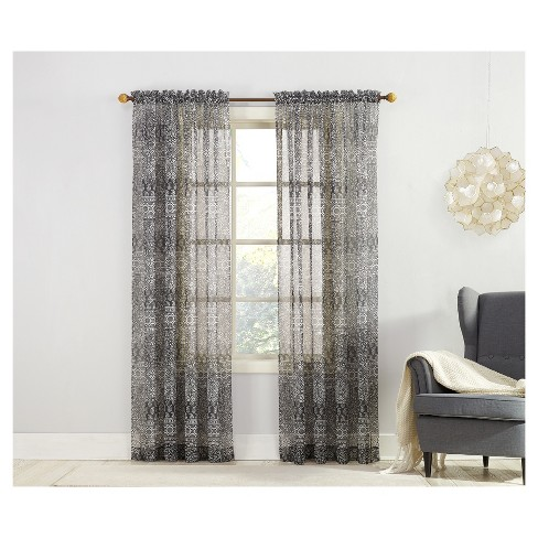 Xander Tilework Print Sheer Voile Curtain Panel Black - No. 918 - image 1 of 3