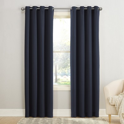 "84""x54"" Seymour Energy Efficient Grommet Room Darkening Curtain Panel Navy - Sun Zero"