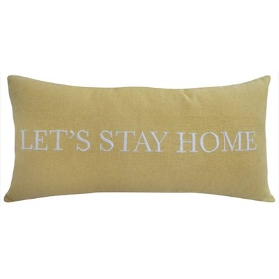"Oversized Lumbar ""Let's Stay Home"" Pillow Yellow - Threshold™"