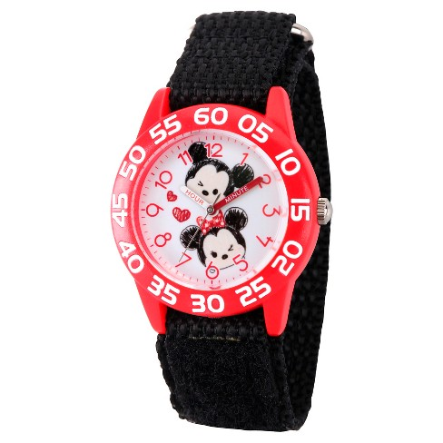 Girls' Disney Mickey Mouse and Minne Mouse Red Plastic Time Teacher Watch - Black - image 1 of 2