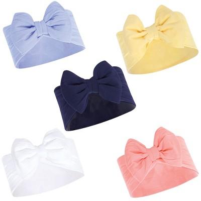 Hudson Baby Infant Girl Headbands 5pk, Blue Yellow, 0-24 Months