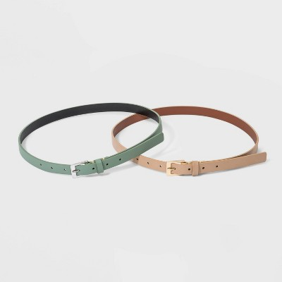 Women's 2 Fer with Lacing Buckle Belt - A New Day™ Moon Rock Green/Melon Ice