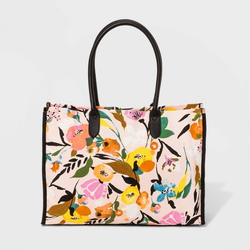 Canvas Boxy Tote Handbag - A New Day™ - image 1 of 4