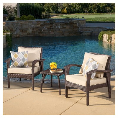 Honolulu Outdoor 3pc Wicker Chat Set with Cushions - Christopher Knight Home
