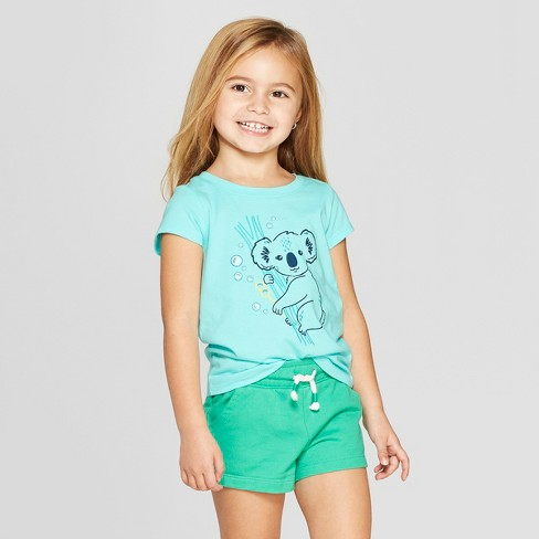 Toddler Girls' Short Sleeve 'Koala' Graphic T-Shirt - Cat & Jack™ Aqua 18M - image 1 of 3