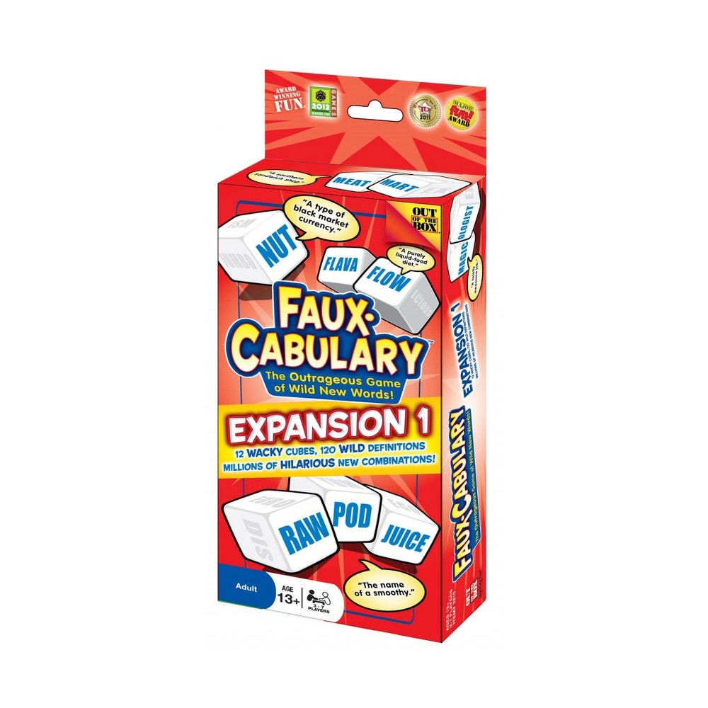 Out of the Box Faux-Cabulary Expansion 1 Game The Outrageous Game of Wild New Words! These wild, new expansions take Faux-Cabulary to the next level with literally millions of new combinations. They don't just add content, they increase the combinations exponentially! Expansion 1 includes 12 new Faux-Cabulary cubes and 60 new category cards! Gender: unisex.