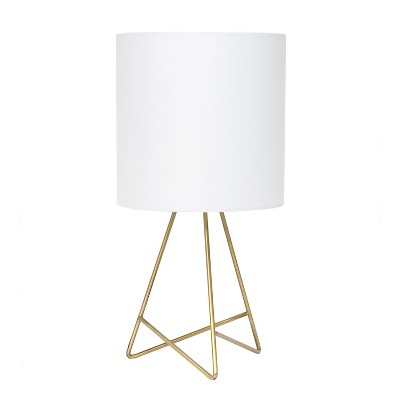 Down To The Wire Table Lamp with Fabric Shade Gold - Simple Designs