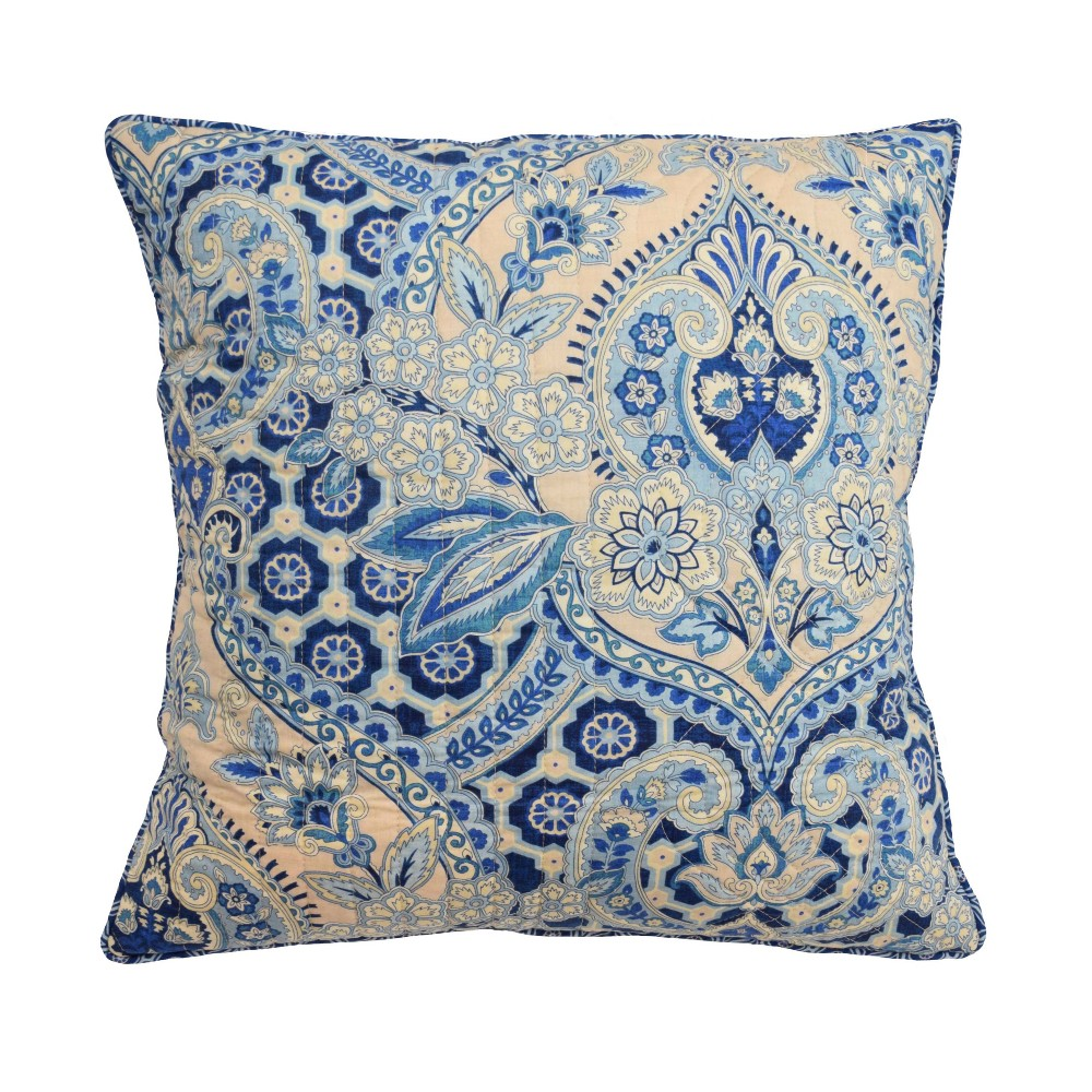 """Image of """"Blue Damask Moonlit Shadows Square Throw Pillow (20x20"""""""") - Waverly"""""""