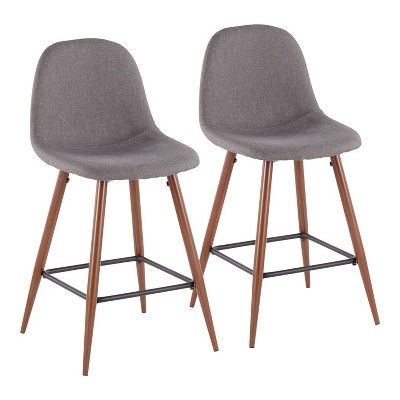 Set of 2 Pebble Mid-Century Modern Counter Height Barstools Walnut/Charcoal - LumiSource
