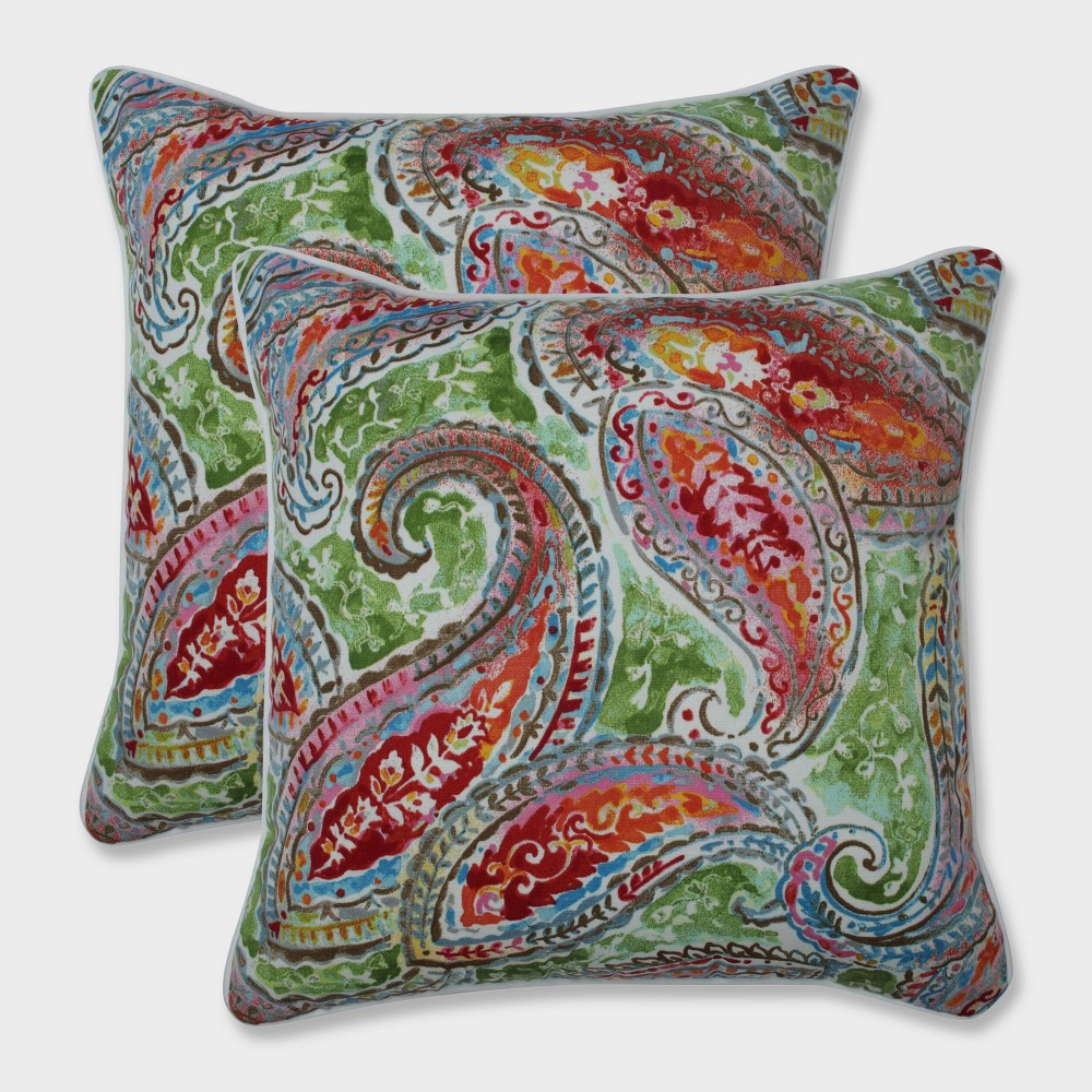 "Image of ""16.5"""" 2pk Bright and Lively Fiesta Throw Pillows Green - Pillow Perfect, Black"""