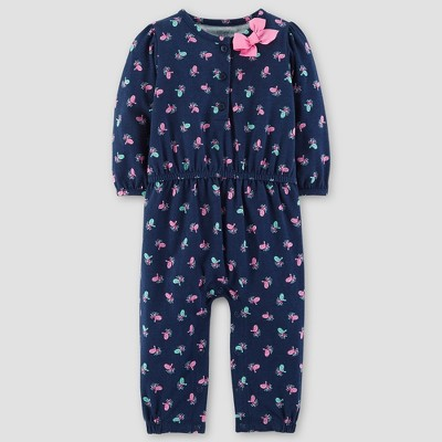 Baby Girls' Floral Cotton Henley Jumpsuit - Just One You™ Made by Carter's® Blue/Pink 9M