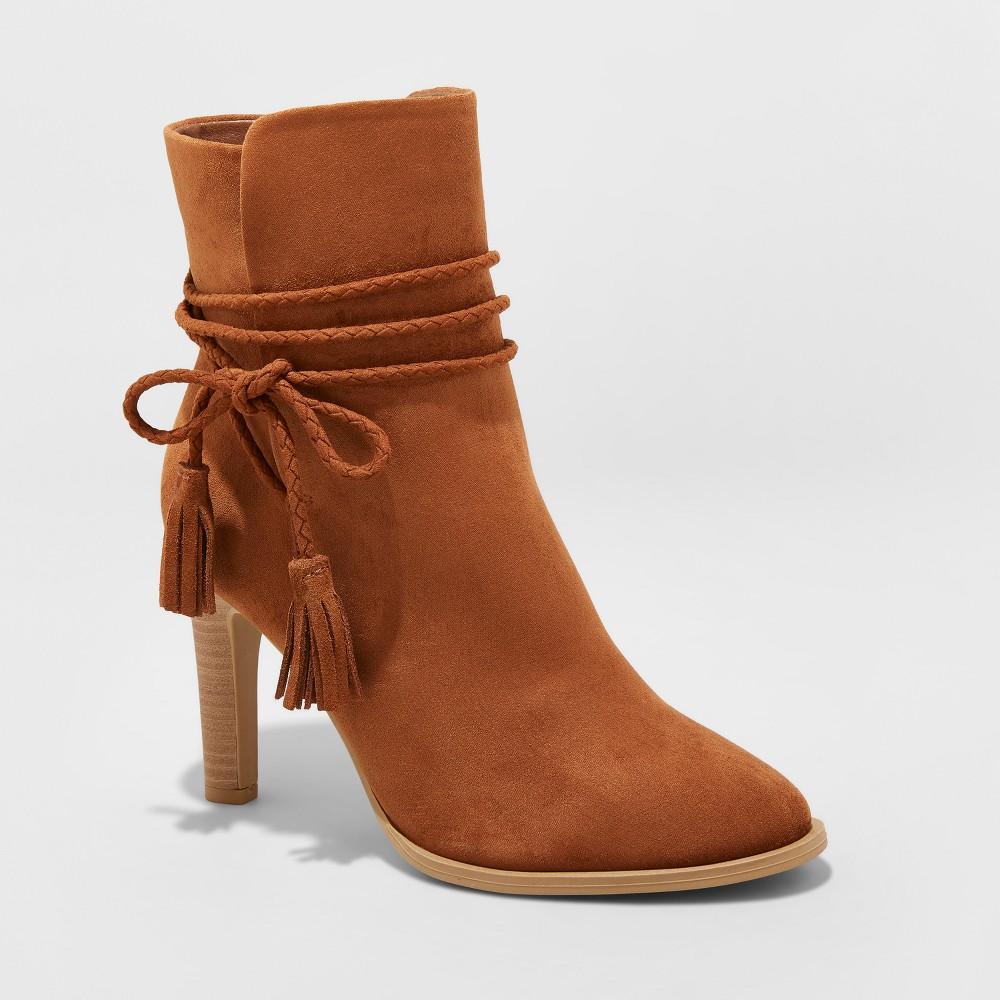 Women's Leyla Microsuede Wide Width Heeled Tassle Bootie - Universal Thread Cognac (Red) 10W, Size: 10 Wide