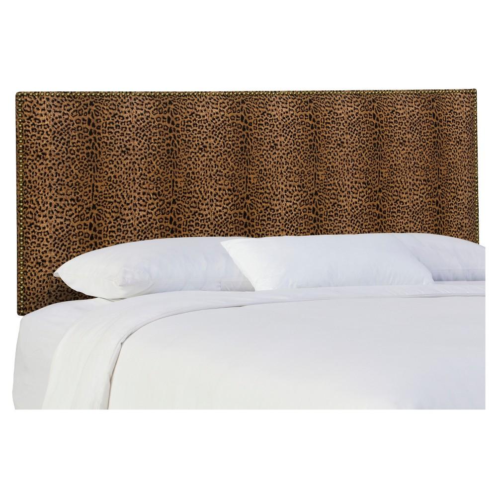 Twin Arcadia Nailbutton Patterned Headboard Cheetah Earth - Skyline Furniture