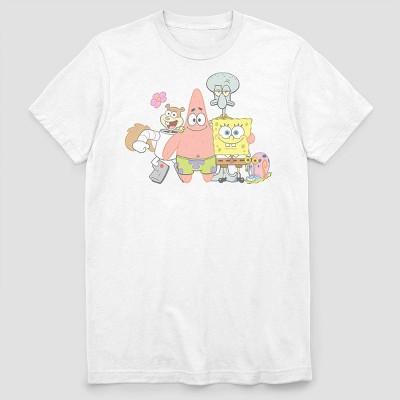 Men's Nickelodeon Spongebob Group Squad Short Sleeve Graphic Crewneck T-Shirt - White