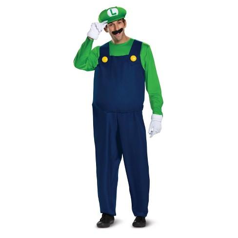 Adult Super Mario Bros Luigi Deluxe Halloween Costume Xl Target