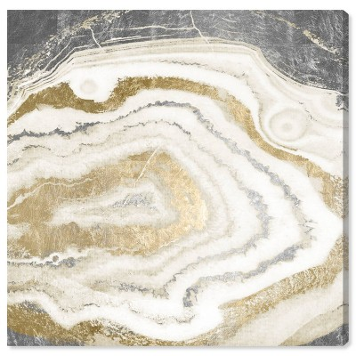 "12"" x 12"" Silver Gold Agate Abstract Unframed Canvas Wall Art in Gold - Oliver Gal"