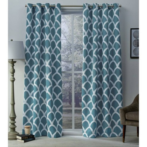 Durango Printed Geometric Sateen Woven Room Darkening Grommet Top Window Curtain Panel Pair - Exclusive Home™ - image 1 of 5