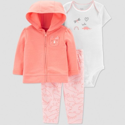 Baby Girls' 3pc Dino Short Sleeve Cotton Cardigan Set - Just One You® made by carter's Coral/White 6M