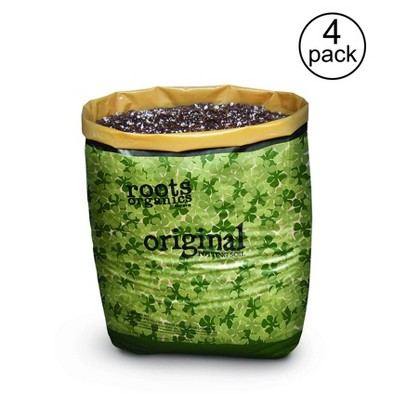 Roots Organics ROD75 Hydroponic Gardening Ready-to-Grow Coco Fiber-Based Potting Soil, 0.75 cu ft/5.6 gal for Plants, 4 Pack
