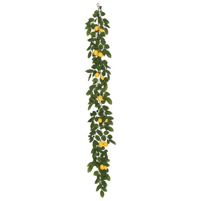 Vickerman 6' Artificial Green and Yellow Salal Leaf Lemon Garland.