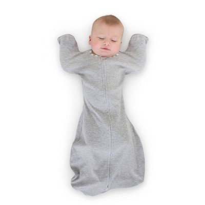 Transitional Swaddle Sack with Arms Up Half-Length Sleeves and Mitten Cuffs - Heathered Gray with Stripe Trim 0-3 Months