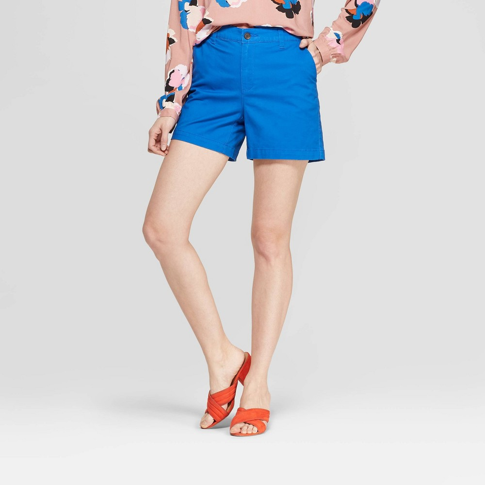 Women's High-Rise Chino Shorts - A New Day Blue 0