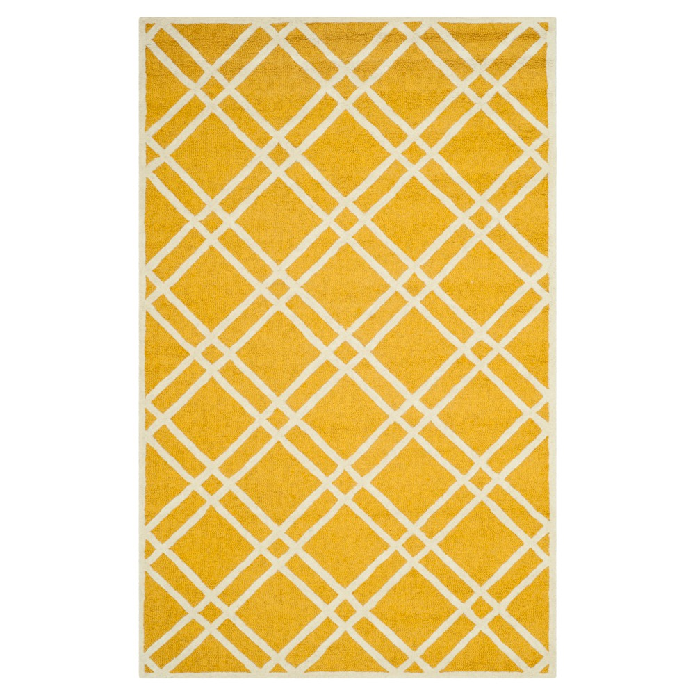 Frey Textured Wool Rug Gold Ivory 4 39 X 6 39 Safavieh